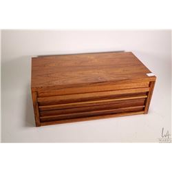 Mid century solid wood two drawer jewellery dresser box with flip up lid, flocked interior with ring