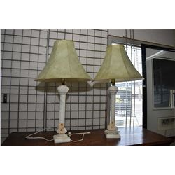 Pair of white alabaster lamps with shades