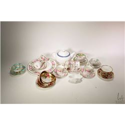"""Selection of china collectibles including set of six Royal Worcester """"Royal Garden"""" demitasses with"""