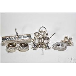 Tray lot of sterling and silver-plate including silver-plate riding boot motif egg server with galle
