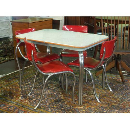 Circa 1950s Chrome Dining Table And Chairs