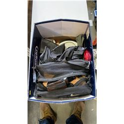 Box of bathroom appliences and shoe strecher