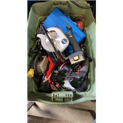 TOTE OF POWER TOOLS, SHOP SUPPLIES