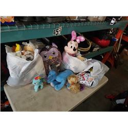 Lot of stuffed animals including Mickey, Minnie and sequin owl