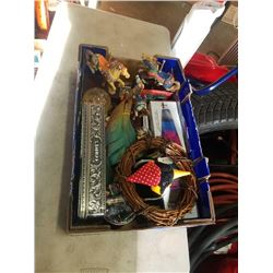 Box of musical horses, lava lamp, metal container and more