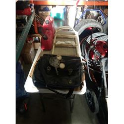 3 LEATHER BAGS, 2 JERRY CANS, POOL LADDER AND WELDING GAUGE
