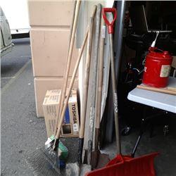 Bundle of rakes, shovels and brooms