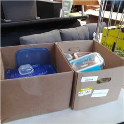 Two boxes of glass lock Containers and plastic containers