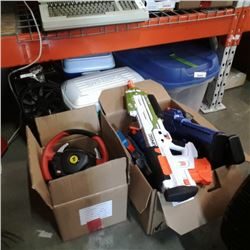 2 boxes of nerf guns and thrustmaster steering wheel