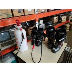 2 pairs of ski boots and garden sprayer
