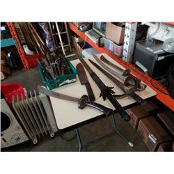 LOT OF KNIVES AND DECORATIVE SWORDS