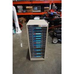 Westward metal organizer with plastic drawers