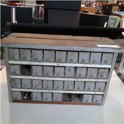 36 drawer metal and wood hardware organizer