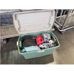 Large tote of inflatable beds and pumps