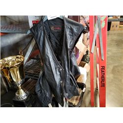 WOMENS SIZE SMALL LEATHER MOTORCYCLE CHAPS AND VEST