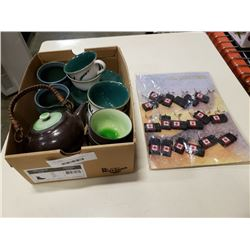 TRAY OF TEAPOT, CUPS, OIL LIGHTERS