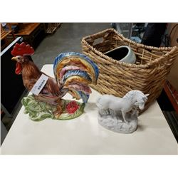 BASKET WITH LARGE ROOSTER FIGURE, HORSE FIGURE, BOWL