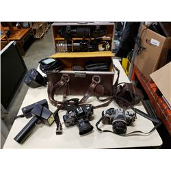 Canon ae-1 with vintage camera case and vinatge camera accessories