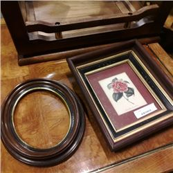 Antique mahogany ovel frame and shadow box