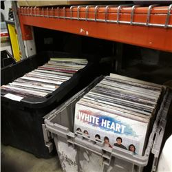 2 totes of christain rock records: White heart, david mease, silverwind and