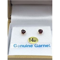 14KT YELLOW GOLD 4mm GENUINE GARNET HEART EARRINGS W/ APPRAISAL $600 - 0.66CTS GARNET