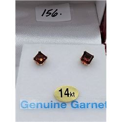 14KT WHITE GOLD 3.8x3.8mm GENUINE GARNET STUD EARRINGS W/ APPRAISAL $630, 0.75CTS GARNET