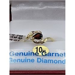 10KT YELLOW GOLD 5.65x4mm GENUINE GARNET AND DIAMOND RING W/ APPRIASAL $1865 - SIZE 7, 0.5CTS GARNET