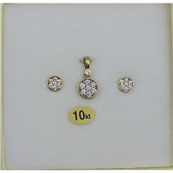 10KT YELLOW GOLD CZ EARRINGS AND PENDANT W/ APPRAISAL $1270, 21 CZ STONES .042CTS