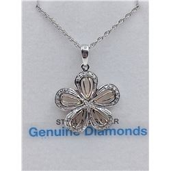 STERLING SILVER 14KT ROSE GOLD PLATED GENUINE DIAMOND FLORAL PENDANT AND 18INCH CHAIN W/ APPRAISAL $