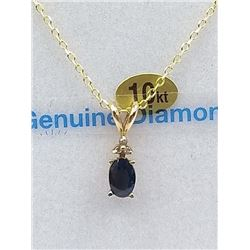 10KT YELLOW GOLD 6x4mm GENUINE BLUE SAPPHIRE AND DIAMOND PENDANT W/ STERLING CHAIN W/ APPRAISAL $100