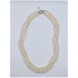 BASE METAL GENUINE FRESHWATER PEARL MATINEE NECKLACE W/ APPRAISAL $1990, 230 FRESHWATER PEARLS