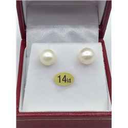 14KT YELLOW GOLD 7mm GENUINE AKOYA CULTRUED PEARL EARRINGS W/ APPRAISAL $2590