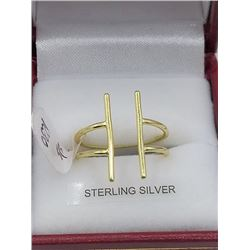 STERLING SILVER YELLOW GOLD PLATED RING - RETAIL $150