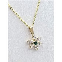 10KT YELLOW GOLD 2.75mm GENUINE EMERALD AND CZ PENDANT W/ STERLING CHAIN W/ APPRAISAL $855 - 0.06CTS