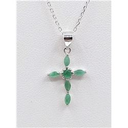 STERLING SILVER GENUINE EMERALD PENDANT W/ APPRAISAL $635, 6 EMERALD 0.35CTS