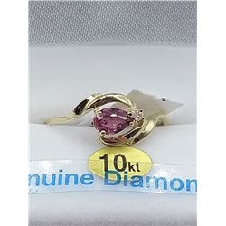 10KT YELLOW GOLD 5.75x4.11mm GENUINE RUBELLITE AND DIAMOND RING W/ APPRAISAL $2000, SIZE 7, 0.5CTS R
