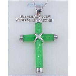 STERLING SILVER GENINE JADE CROSS PENDANT W/ STERLING CHAIN W/ APPRAISAL $450