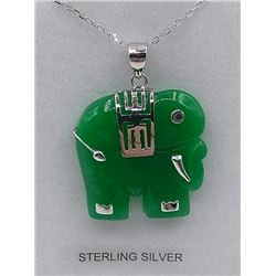 "STERLING SILVER GENUINE JADEITE AND SYNTHETIC RUBY ""ELEPHANT"" PENDANT W/ STERLING CHAIN W/ APPRAISAL"