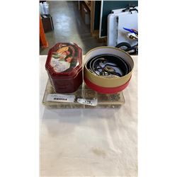 TIN AND BOX OF VARIOUS JEWELLERY AND TRAY OF JEWELLERY MAKING SUPPLIES