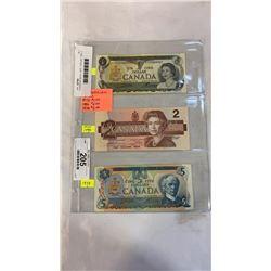 3 CANADIAN BILLS - 1973  1 DOLLAR, 1954  2 DOLLAR, 1979  5 DOLLAR