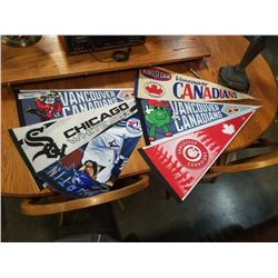 LOT OF SPORTS PENNANTS, BASEBALL AND VANCOUVER