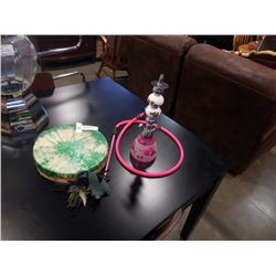 PINK HOOKAH PIPE, DRUM AND LEATHER MASK