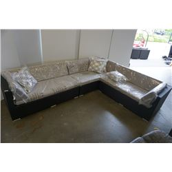 BRAND NEW PREMIUM OUTDOOR GIANT L SECTIONAL W/ LIGHT GREY CUSHIONS AND 3 ACCENT PILLOWS  - RETAIL $2