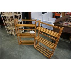 2 WOOD FOLDING SHELVES