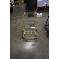 2 TIER BRASS AND GLASS TEA TROLLEY
