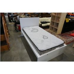WHITE SINGLE SIZE BEDFRAME WITH MATTRESS