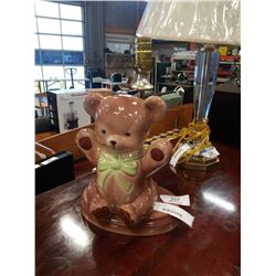 MID CENTURY WIND UP MUSICAL  BEAR LAMP