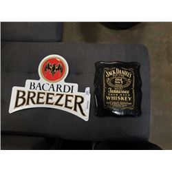 BACARDI METAL SIGN AND JACK DANIELS WOOD SIGN