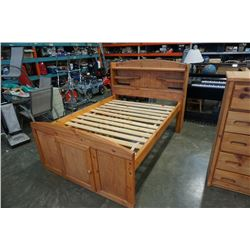 PINE QUEEN SIZE BEDFRAME WITH DRAWERS AND UNDERBED STORAGE