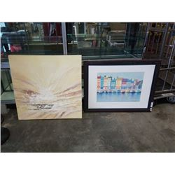 ABSTRACT PAINTING ON CANVAS AND CITY DOCK PRINT